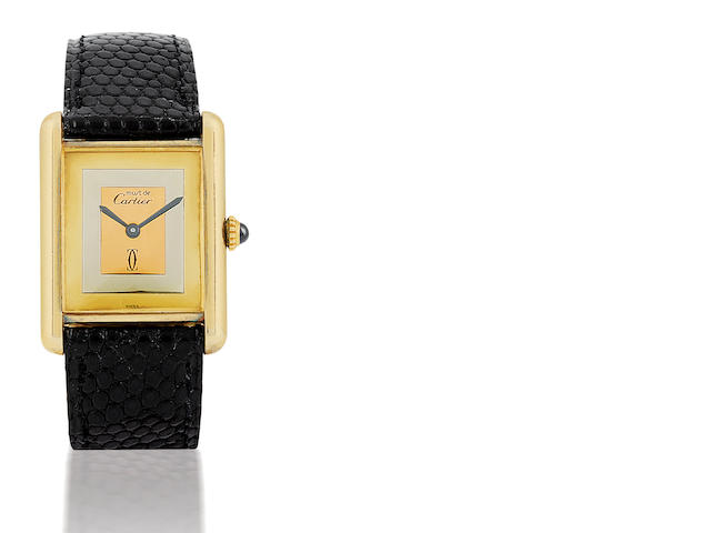 Cartier. A fine manual wind sliver case rectangular wristwatch Case No.6174500, Circa 1970's