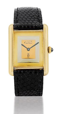Cartier. A fine manual wind sliver case rectangular wristwatch Case No.6174500, Circa 1970's