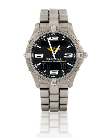 Breitling. A fine titanium wristwatch with digital and analog displayAerospace. Ref: E75362, Serial #596446, Circa 2004