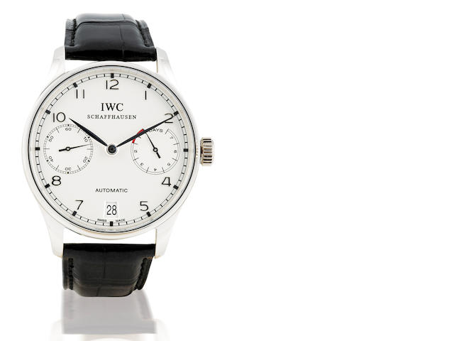 IWC. A rare and fine Platinum PT 950 automatic wristwatch with calendar and 7 days power reserve Portuguese, Ref: IW500104, Circa 2006
