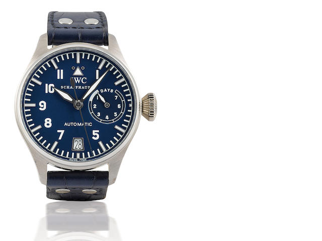 IWC. A very fine and rare Platinum PT 950 limited edition automatic limited edition military style wristwatch with power reserve Big Pilot, Case No. 2882177, Ref: 500202, Limited Edition of 062/500