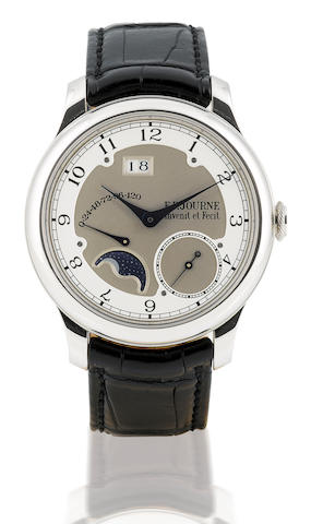 F.P. Journe. A very fine and rare platinum automatic wristwatch with calendar, power reserve and moon phase functionOcta Divine 40mm, Case No. 233D, Circa 2007