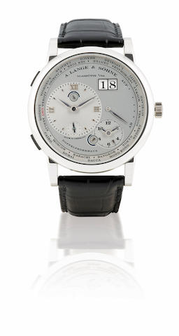 A. Lange & Söhne. A fine and rare Platinum PT950 manual wind wristwatch with world time and calendar Lange 1 Time Zone, Case No. 160520, Ref: 116.025, Circa 2006