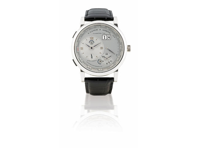 A. Lange & Söhne. A fine and rare Platinum PT950 manual wind wristwatch with world time and calendarLange 1 Time Zone, Case No. 160520, Ref: 116.025, Circa 2006