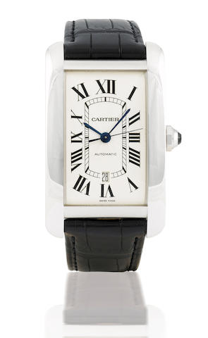 Cartier. A fine and rare 18ct gold automatic wristwatch with calendarTank Americaine XL, Case No. 124140LX, Ref: 2928, Circa 2007