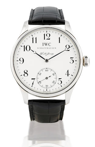 IWC. A fine and rare limited edition Platinum PT 950 manual wind wristwatch Portuguese F.A. Jones, Ref: 544202, Limited Edition of 001/500, Circa 2007