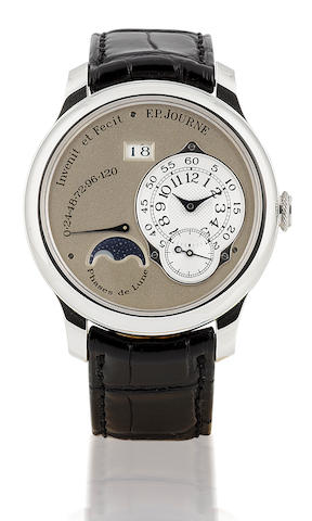 F.P.Journe. A fine and rare Platinum wristwatch with moon phases and 120 hours power reserve Octa-Lune, No268, Circa 2006