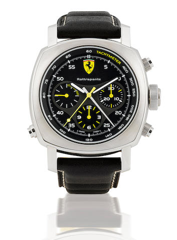 Ferrari by Officine Panerai. A fine large cushion shaped stainless steel automatic wristwatch with split second chronograph Ferrari Scuderia GMT, Ref: Fer 00010, Case no. FA 021/500, Movement no. 00911. Made in a limited edition of 500 pieces in 2006