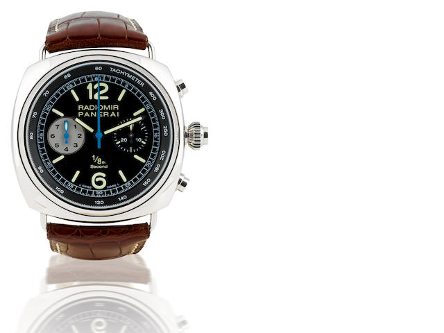 Officine Panerai. A fine and rare stainless steel automatic limited edition chronograph wristwatch Radiomir Chronograph 1/8th, Case No. I045/300, Ref: PAM 246, Circa 2007