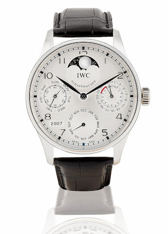 IWC. A fine and rare Platinum automatic wristwatch with perpetual calendar 7 days power reserve and moon phasePortuguese Automatic Perpetual Calendar, Ref: 5002-19, Case No. 075/250, Circa 2007