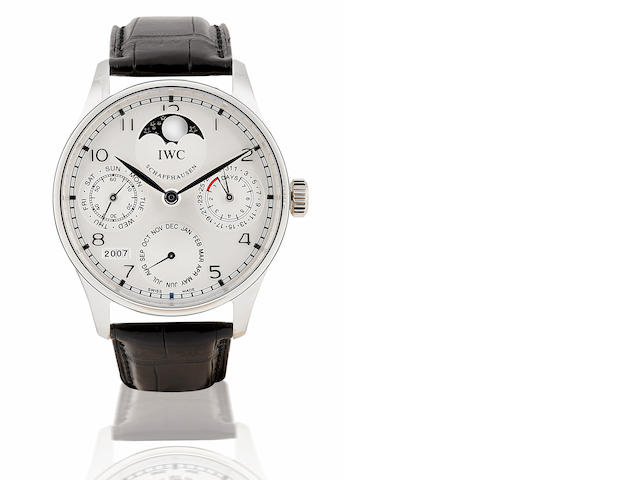 IWC. A fine and rare Platinum automatic wristwatch with perpetual calendar 7 days power reserve and moon phase Portuguese Automatic Perpetual Calendar, Ref: 5002-19, Case No. 075/250, Circa 2007