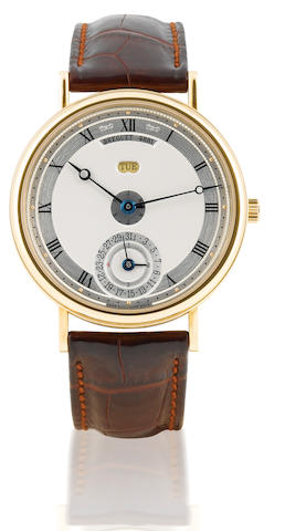 Breguet. A fine and rare 18ct gold automatic wristwatch with perpetual calendarBreguet Straight Line Perpetual Calendar, Case No. 4881, Ref: 7077, Circa 2005