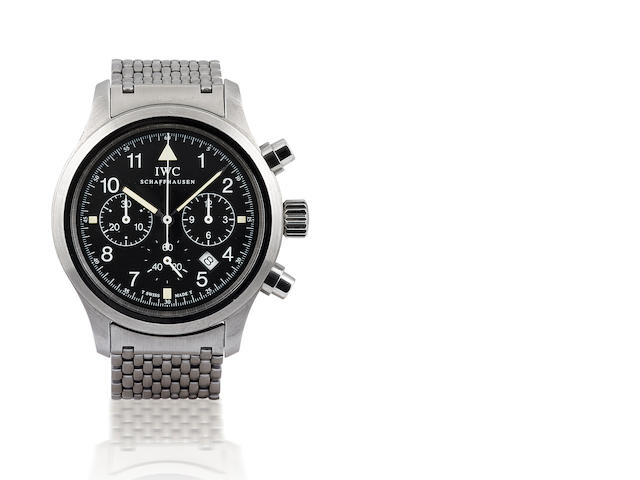 IWC. A fine stainless steel chronograph wristwatch with calendar Flieger Chronograph, Ref: 3740, Circa 1990's