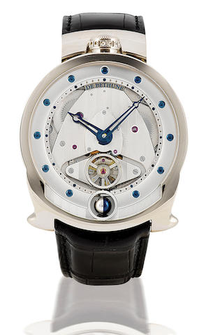 De Bethune. A rare and fine 18ct white gold manual wind 8 days power reserve and 3 dimensional moon phase wristwatch DBS-W, Case no. 018, Circa 2006