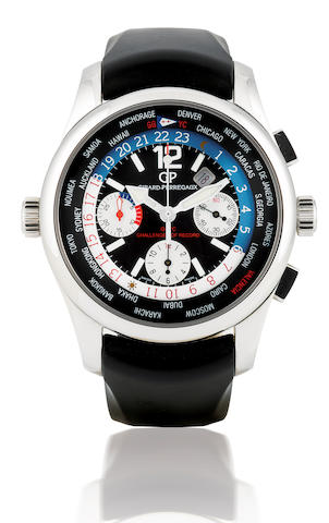 Girard-Perregaux. A fine and rare stainless steel automatic chronograph limited edition with world time and calendar ww.tc BMW Oracle Racing, Ref: 49800, Limited edition 222/750, Circa 2007