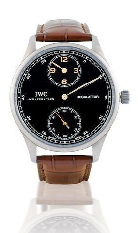 IWC. A fine and very rare titanium manual wind, regulator wristwatchPortuguese Sincere Regulateur, case No. 3202225, Circa 2007
