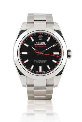 Rolex. A fine stainless steel automatic wristwatchMilgauss, Ref: 116400, Circa 2008