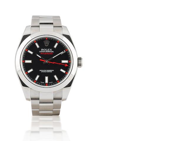 Rolex. A fine stainless steel automatic wristwatch Milgauss, Ref: 116400, Circa 2008