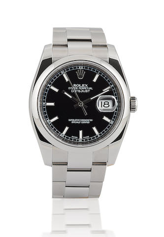 Rolex. A fine stainless steel automatic wristwatch with calendar Oyster Perpetual Datejust, Case No. Z876280, Ref: 116200, Circa 2007