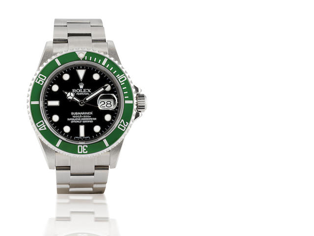 Rolex. A rare stainless steel automatic dive watch with calendar Submariner Anniversary Edition, Ref: 16610LV, Serial Z262268, 2007
