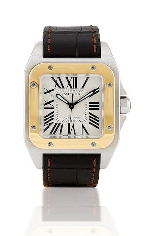 Cartier. A fine stainless steel and 18ct gold automatic wristwatch with calendar Santos 100, Ref: 2878, 2005