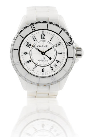 Chanel. A fine white ceramic ladies automatic wristwatchJ12, Case no. DH83740, Ref: H0970, Circa 2000's