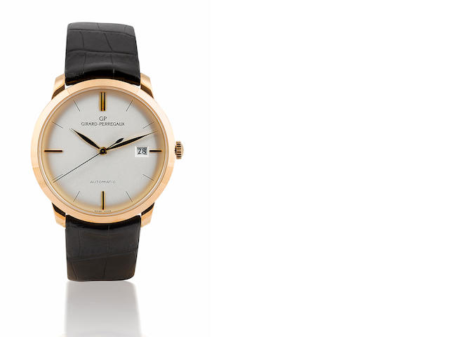 Girard Perregaux. A fine 18ct rose gold automatic wristwatch with calendar 1966 Round Classic, Ref: 49525, Case No. 592, Circa 2000's