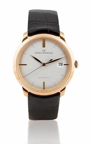 Girard Perregaux. A fine 18ct rose gold automatic wristwatch with calendar 1966 Round Classic, Ref: 49525, Case No. 592, Circa 2000's