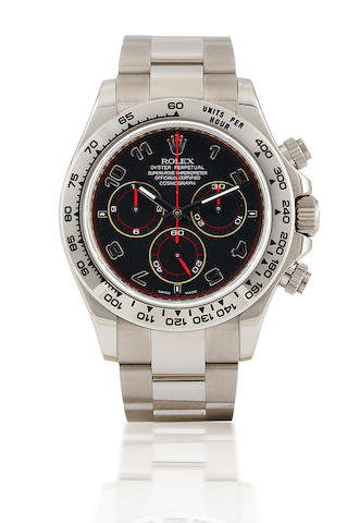 Rolex. A very fine 18ct white gold chronograph automatic wristwatch Daytona, Ref: 116509, Serial Z506607, Circa 2007