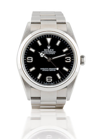 Rolex. A fine stainless steel automatic wristwatch Oyster Perpetual Explorer, Ref: 114270, Serial F413301, Circa 2003