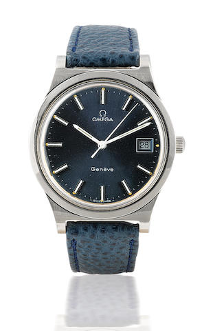 Omega. A stainless steel wristwatch with center second and date Geneva, Case No. 1360102, Circa 1970's