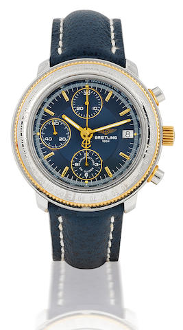Breitling. A limited edition stainless steel chronograph with date Case No. D20405, Limited edition of 280/700, Circa 1990's