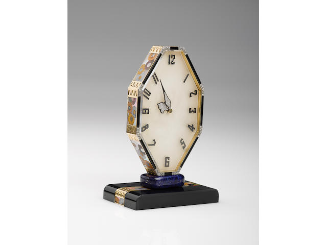 Vacheron Constantin. A very fine and rare, onyx, silver, lapis, agate, mother of pearl and diamond desk clock with 8 days power reserve Movement No. 386593, Verger Freres No. 9476, Circa 1920's