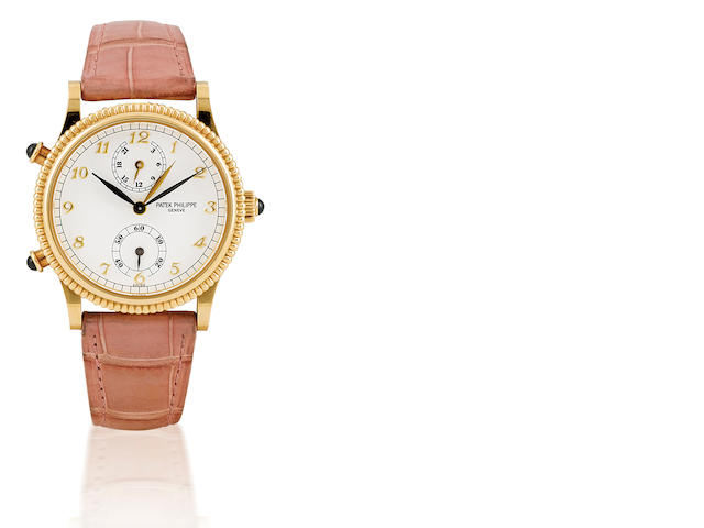 Patek Philippe. A fine and rare 18ct gold ladies manual wind wristwatch with GMT Travel Time, Ref: 4864, Circa 2000's