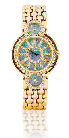 Delaneau. A fine 18ct gold automatic ladies diamond and opal wristwatch with 3 time zone Ref: 29885, Circa 1990's
