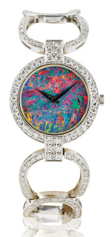 A fine 18ct white gold manual wind ladies diamond and opal wristwatchCase No. 85084, Circa 1980's