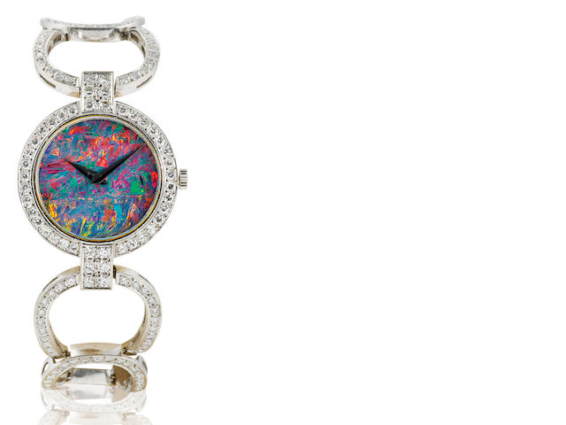 A fine 18ct white gold manual wind ladies diamond and opal wristwatch Case No. 85084, Circa 1980's