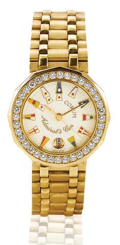 Corum. A fine 18ct gold quartz ladies' diamond wristwatch with calendar Admiral's Cup, Case No. 3991065, Ref: 661980, Circa 1980's
