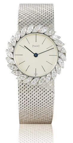 Piaget. A fine 18ct white manual wind gold ladies wristwatch with diamond bezel Case No. 9172 813, Circa 1980's