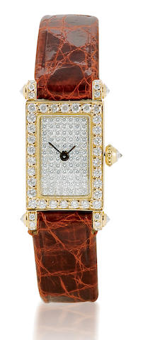 Charles Oudin. A find 18ct gold quartz ladies wristwatch with diamond Case No. 00/01/5067, Circa 1980's