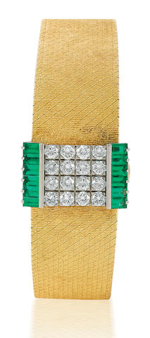 Patek Philippe. A fine 18ct gold manual wind ladies wristwatch with diamond and emerald coverCase No. 2662870, Ref: 3319, Circa 1980's