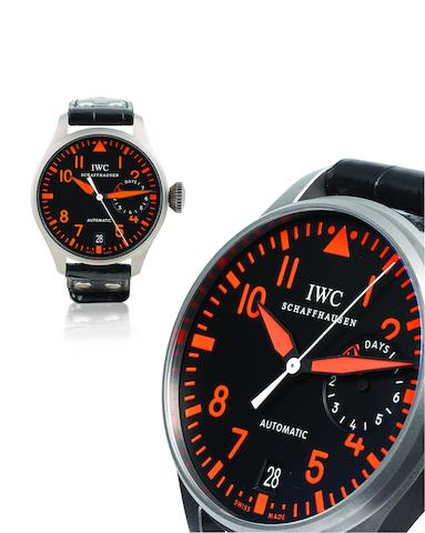 IWC. A very fine and rare titanium limited edition automatic limited edition military style wristwatch with power reserve Big Pilot, Special Edition for Sincere SHH 2007, ref 5004, one out of 50, Fliegeruhr