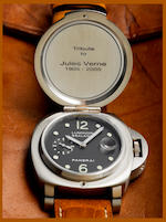 Officine Panerai. A fine and rare automatic stainless steel hunter case with engraving limited edition wristwatch Luminor Sealand - Jules Verne; Ref: PAM216, Limited Edition H008/100, Circa 2007