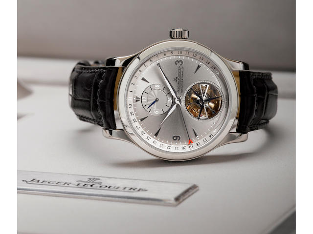 Jaeger LeCoultre. A fine Platinum PT 950 limited edition dual time zone tourbillon wristwatch with day night indication and calendarMaster Tourbillon, Ref: 165 64 50, limited edition of 171/300, Circa 2006