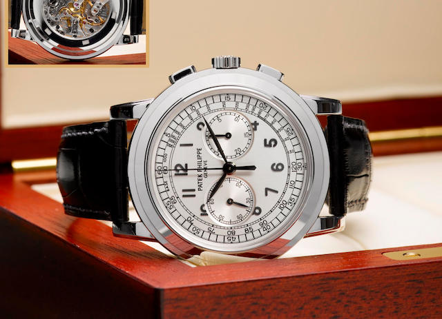 Patek Philippe. A very fine and rare 18ct white gold chronograph wristwatchRef: 5070G, Case No. 4310196, Circa 2006