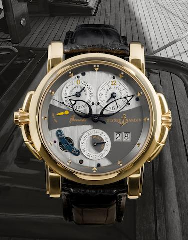 Ulysse Nardin. A fine and very 18ct gold automatic wristwatch with countdown indicator, alarm setting and 24 hour dual time dial Sonator, Ref 88-999, case no. 048, Circa 2004