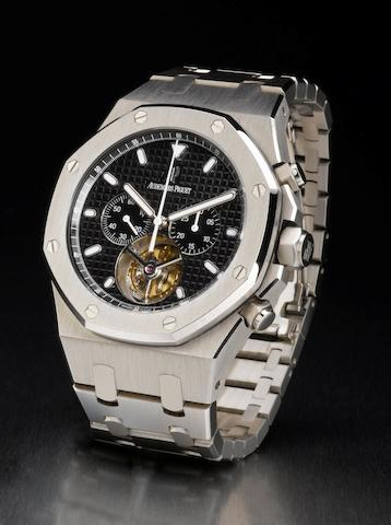 Audemars Piguet. A very fine and rare stainless steel limited edition tourbillon chronograph wristwatch Royal Oak Tourbillon Chronograph, Ref: 25977ST, Case No. F25538, Limited production, Circa 2000's