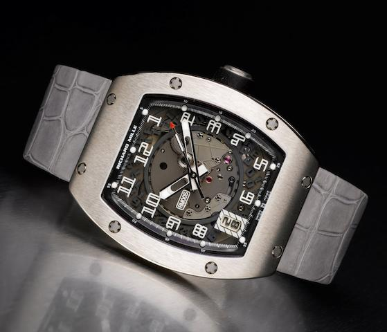 Richard Mille. A fine and rare 18ct white gold wristwatch with date RM005, No. AE/WG 421, Made in 2006