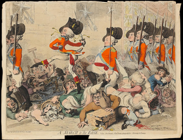 James Gillray (British, 1757-1815) A March to the bank vide. The Strand, Fleet Street, Cheapside &c.