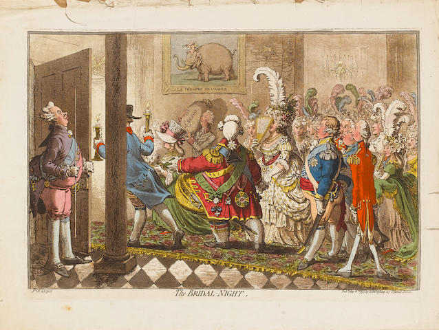 James Gillray (British, 1757-1815) The Bridal-night Etching, 1797, with hand colouring, on watermarked laid paper, published May 18th by H Humphrey, London; nicks and some paper loss in the margins, otherwise in good condition, 305 x 450mm (12 x 17 2/3in)(PL)(unframed)